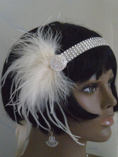 1920's Headpiece, Flapper Headband, Gatsby, Ivory, Feathers , bridesmaids,  no. 110