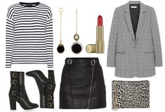 Leather skirt, striped shirt & leopard print cross body bag - Styled by Manon