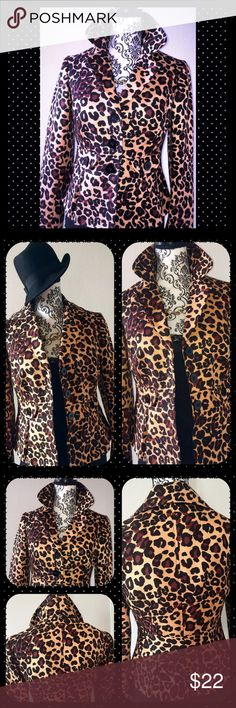 🌟🌟Stylish Cheetah Print Blazer🌟🌟 Don't miss out on this chic, flattering blazer. It's truly ONE-OF-A-KIND!!!  I ABSOLUTELY LOVE, LOVE BLAZER!!!!! The look is FABULOUS! It simply does not fit me properly as I am too broad in the shoulders. This item is a great staple for any Fall/ Winter wardrobe! 😃😍😃😍😃😍  Material: 60% Cotton 40% Silk  Lining:   100% Acetate Cache Jackets & Coats
