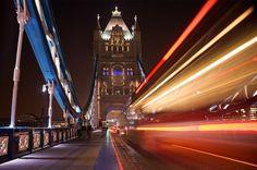 Tower Bridge at night with a bus light trail, London by Ryan Hasselbach on Flirck.jpg