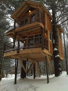 Treehouse Cabin you can stay in at Moose Meadow Lodge Vermont