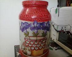 Pote de vidro em craquele de flores