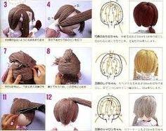 Resultado de imagem para cabelo de boneca de lã passo a passo