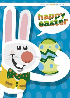 "This Easter background shows a smiling bunny holding an Easter egg and saying ""Happy Easter"" with a dialogue cloud. It has a blue eggs pattern as a backdrop. Use it in cards, invitations, posters and any promo related to Easter! High quality JPG included. Under Commons 4.0. Attribution License."
