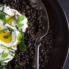 Spiced Black Lentils with Yogurt and Mint Recipe. So good, I make a big batch of this for when I don't feel like cooking because I never get sick of it.