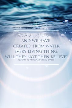 """And We have created from water every living thing. Will they not then believe?""  Qur'an 21:30"