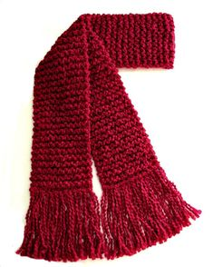 Red Scarf Long Chunky Hand Knit Winter Scarf Men Women Candy Apple Deep Dark Red by SticksNStonesGifts