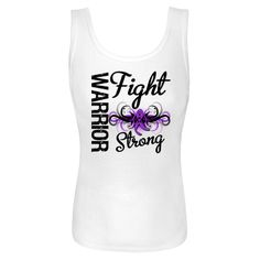 Fight Strong Motto on Crohn's Disease Warrior Women's Tank Tops featuring a cool tribal swirl style with an awareness ribbon in the center to make an impact for your cause #CrohnsDiseaseAwareness