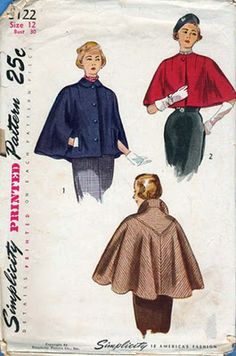 Vintage 1950s cape pattern - I love capes! via Tuppence Ha'Penny Vintage