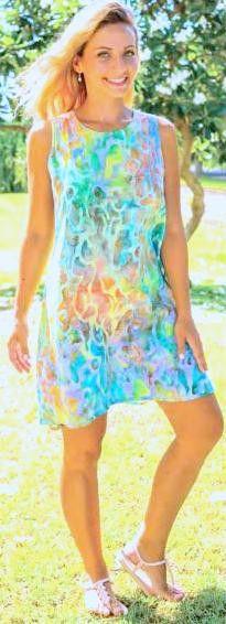 Bali Batiks A-Line Short Dress - South Beach