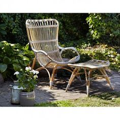 CHANTAL. SIKA DESIGN  Sika very popular armchair Monet is now also in the outdoor version, called Chantal. Rattan and bamboo are held together by weather-resistant and maintenance-free synthetic fiber. B67, H99, D86 cm, seat height 40 cm. For extra comfort, there are also footstool. B54, H40, D40 cm, seat height 36 cm