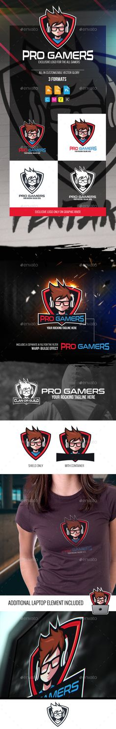 Pro Gamers Logo Design Template - Humans Logo Deisgn Template PSD, Vector EPS, AI Illustrator. Download here: https://graphicriver.net/item/pro-gamers-logo/18876779?ref=yinkira
