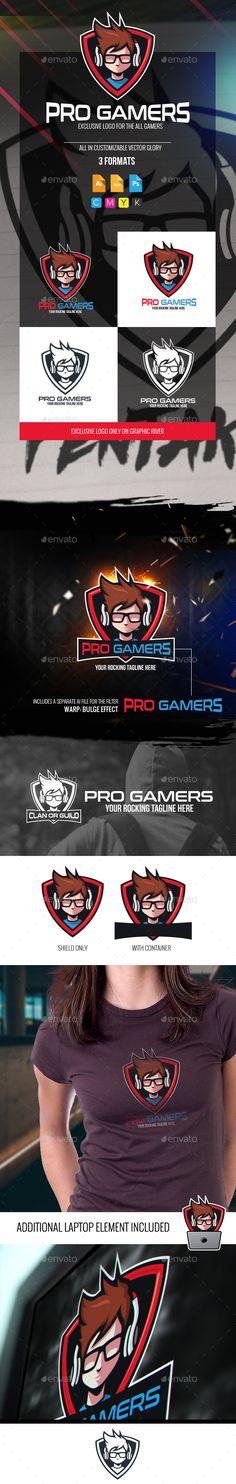 Pro Gamers Logo Design Template - Humans Logo Deisgn Template PSD, Vector EPS, AI Illustrator. Download here: https://graphicriver.net/item/pro-gamers-logo/18876779?ref=yinkira