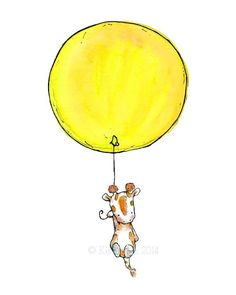 Children's Art Giraffe Balloon Art Print by trafalgarssquare