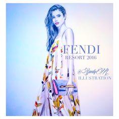 www.sandymillustration.com #fendi by #sandymillustration #sandym #fashionillustration #illustration