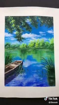 Canvas Painting Tutorials, Diy Canvas Art, Acrylic Painting Canvas, Lake Painting, Pour Painting, Watercolor Landscape Paintings, Watercolor Paintings, Cool Art Drawings, Lake View