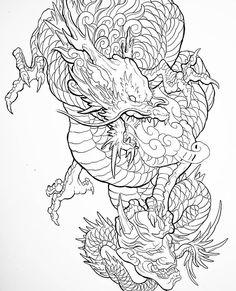 Japanese Dragon Tattoos, Japanese Tattoo Art, Japanese Tattoo Designs, Tattoo Lettering Design, Sketch Tattoo Design, Tattoo Drawings, Body Art Tattoos, Dragon Oriental, Dragon Sleeve Tattoos