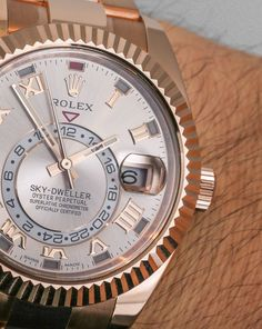 Rolex Sky-Dweller Watch: New Gold Colors Hands-On Dream Watches, Fine Watches, Luxury Watches, Rolex Watches, Watches For Men, Rolex Cosmograph Daytona, Rolex Daytona, Sky Dweller, Rolex Models