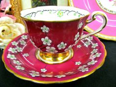 Royal Chelsea Tea Cup and Saucer Red Painted Beaded Floral Pattern Teacup | eBay