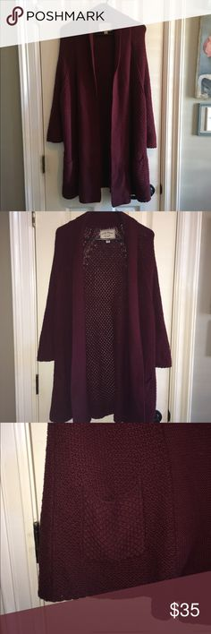 Lucky Brand Burgundy Maroon Knit Cardigan Sweater Lucky Brand knit comfy cardigan sweater, beautiful maroon burgundy color with a flappy collar! Size M, gently used and in very good condition. From a smoke-free home, no trades please!! Thanks for looking :-)) Lucky Brand Sweaters Cardigans