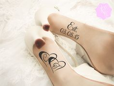 Check out this item in my Etsy shop https://www.etsy.com/uk/listing/258078502/wedding-shoes-decal-personalized-wedding