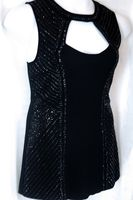 Cache Size L Solid Black Beaded Sleeveless Tunic Top Evening Occasion