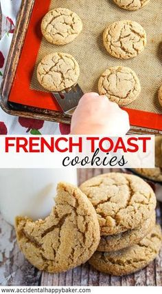 French toast cookies taste just like French toast sticks but in the form of a deliciously chewy sugar cookie Bring on the breakfast for dessert frenchtoastcookies ChewyCookies BakeBetterCookies Frenchtoast HomemadeCookies Chewy Sugar Cookies, Homemade Cookies, Yummy Cookies, Chocolate Chip Cookies, Cookies Et Biscuits, Cinnamon Cookies, Fall Cookies, Baking Cookies, Candy Cookies