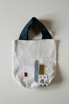 Antique linen patchwork boro tote bag/small/Japanese/french linen/sashiko/needlework/cotton