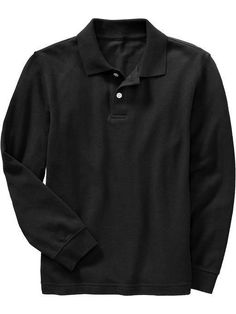 Old Navy Rib knit collar and long sleeve cuffs Two button placket Drop tail hem Soft pique cotton Tag free for added comfort Pieced trim inside neck for added durability Great for school... More Details