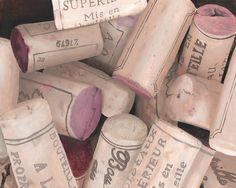 French Wine Corks Oil Painting