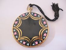 Art Deco Volupte Black and Floral Enamel Pocket Watch Compact with Tassel