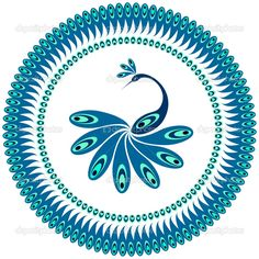 Peacock. Decorative pattern for plate