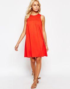 Image 4 ofASOS Sleeveless Swing Dress with Smocking Detail