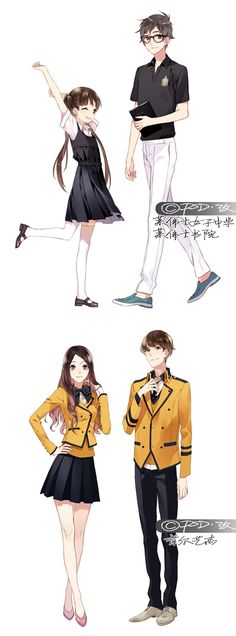 Anime guy and girl reference Anime Uniform, Manga Anime, Manga Drawing, Manga Art, Character Design References, Character Art, Vetements Clothing, Chibi, Image Manga
