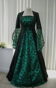 MEDIEVAL GOTH OPEN SLEEVE BLACK AND GREEN DRESS, Dawns Medieval Dresses