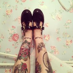 traditional rose & moth #leg #tattoos