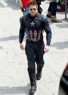 Chris Evans on the set of 'Captain America: Civil War', May 15
