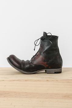 Layer-0 - black & blood cordovan lace up tall boot
