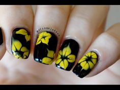 How to marble Simple Yellow Dotted Flowers nailart tutorial:  This will look great with any color combo!