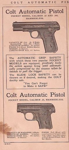 Colt's 1903 / 1908 Model M 'Pocket Hammerless' .32 & 380 ACP and Colt's 1908 Model N, 'Vest Pocket' .25 ACP