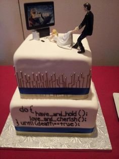 Love this - especially the cake topper, because I like the idea that it's the bride who has to be pulled away from gaming by the groom!