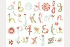 Check out Alpha - Spring Blossoms ABC by MyClipArtStore on Creative Market Word Fonts, Fun Fonts, Spring Blossom, Spring Flowers, Hand Lettering, How To Draw Hands, Bloom, Typography, Drawings