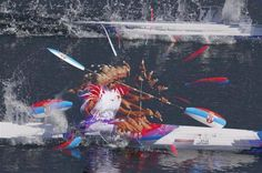 Serbia's Nikolina Moldovan competes in the women's kayak single 200m heat.