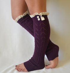 Buy leg warmers- knit purple leg warmer with lace trim and buttons chunky leg warmer lace leg warmer boot socks boot cuffs christmas gifts at Wish - Shopping Made Fun Lace Boot Cuffs, Knitted Boot Cuffs, Lace Socks, Knit Boots, Lace Knitting, Knit Lace, Women's Socks, Crochet Leg Warmers, Grace And Lace
