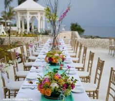 We love a wedding reception by the beach! How about in Jamaica! {Moon Dance Cliffs} i'm really liking the white w/ color runners Reception Table Decorations, Tall Wedding Centerpieces, Beach Wedding Reception, Wedding Venues, Wedding Ideas, Wedding Locations, Wedding Planning, Small Beach Weddings, Destination Weddings