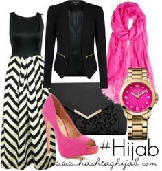 Hashtag Hijab Outfit #174. chevron and pink, ya can't go wrong.