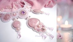 """""""Pink Dreams"""" by Oksana Petriv of Ukraine. Made with rose quartz cabochons, Swarovski crystals, Toho seed beads and leather. I've found some of the most stunning beaded pieces are made by eastern European artists. They don't shy away from dramatic jewelry!"""
