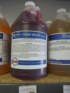 "$18 a gallon. FOAMY BRUSH Car Wash conc. is an extremely high foaming red car wash product with an even stronger cherry scent. Not recommended for hand or pressure washing unless extreme foam is desired, rinsed off foam will take a while to desolve. ""PH"" balanced. In 5 gallons $75."