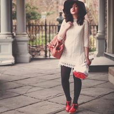 Spotted Bonnie aka @flashesofstyle hanging out in some red T-Straps! #bloggersinhasbeens #swedishasbeens #swedish #hasbeens #ss14 #fashionblogger #clogs #tstraps #sandals #shoes
