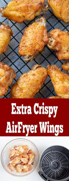 The most incredible Crispy Chicken Wings! One of the best things to make in your Air Fryer. The most incredible Crispy Chicken Wings! One of the best things to make in your Air Fryer. Air Fryer Recipes Low Carb, Air Fryer Dinner Recipes, Air Fryer Recipes Breakfast, Air Fryer Recipes Chips, Cooking Chicken Wings, Crispy Chicken Wings, Chicken Wing Recipes, Sweet Chili Chicken, Honey Garlic Chicken Wings